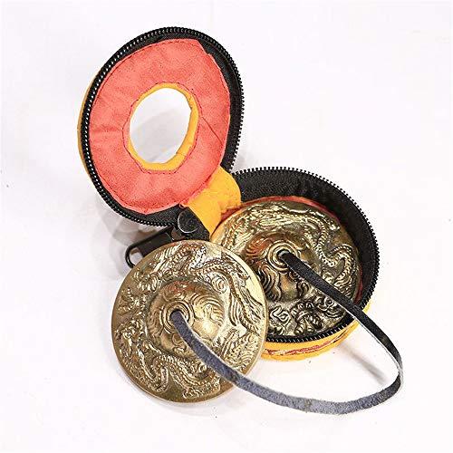 Tingsha tibetische Glocke Tibetische Tingsha, Tiansha, Space Clearing, Meditation Mithilfe, mit Leder-Seil, 6,5 cm im Durchmesser, 2 Tibetische Drachen Muster