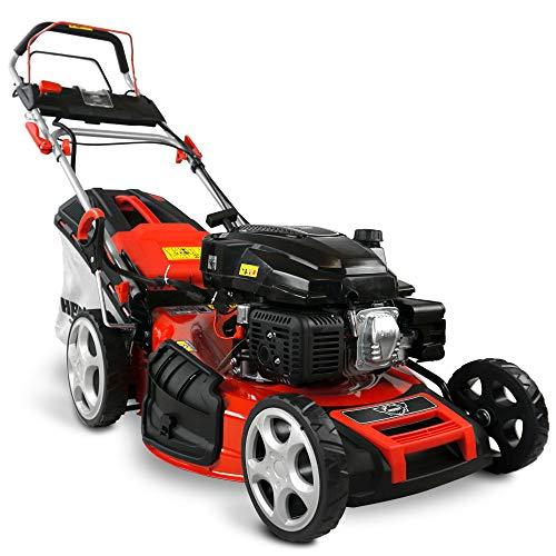 HECHT 5-IN-1 Benzin Rasenmäher – leistungsstarker 4 Takt Eco Motor 4,4 kW (6,0 PS) – Elektrostart – 53 cm Schnittbreite – 75 l Fangkorb – Radantrieb – patentierte Räder – EasyClean – Mulchmäher