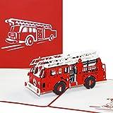 Pop Up Karte'Feuerwehr' - 3D Geburtstagskarte & Glückwunschkarte mit Löschzug - als Geschenkidee, Gutschein, Einladung & kleines Geschenk zu Geburtstag, Jubiläum und Einschulung