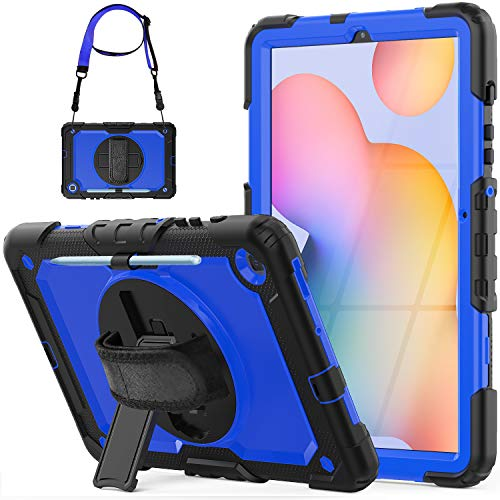SEYMCY Case for Samsung Galaxy Tab S6 Lite 10.4 inch Tablet 2020 Released (SM-P610/P615), 360 Rotating Hand Strap Tab S6 Lite Case with Screen Protector/Pen Holder for Tab S6 SM-P610/P615, Black/Blue