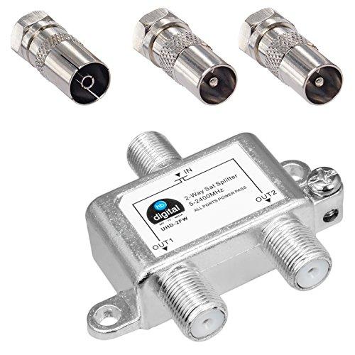 HB-DIGITAL SAT - BK - UKW - Verteiler 2-Fach Splitter (2-Wege) 5-2400 MHz | digital & analog - tauglich | voll geschirmt SAT DVB-S DVB-S2 Kabelfernsehen DVB-C inkl. Antennen und Kabel IEC Adapter
