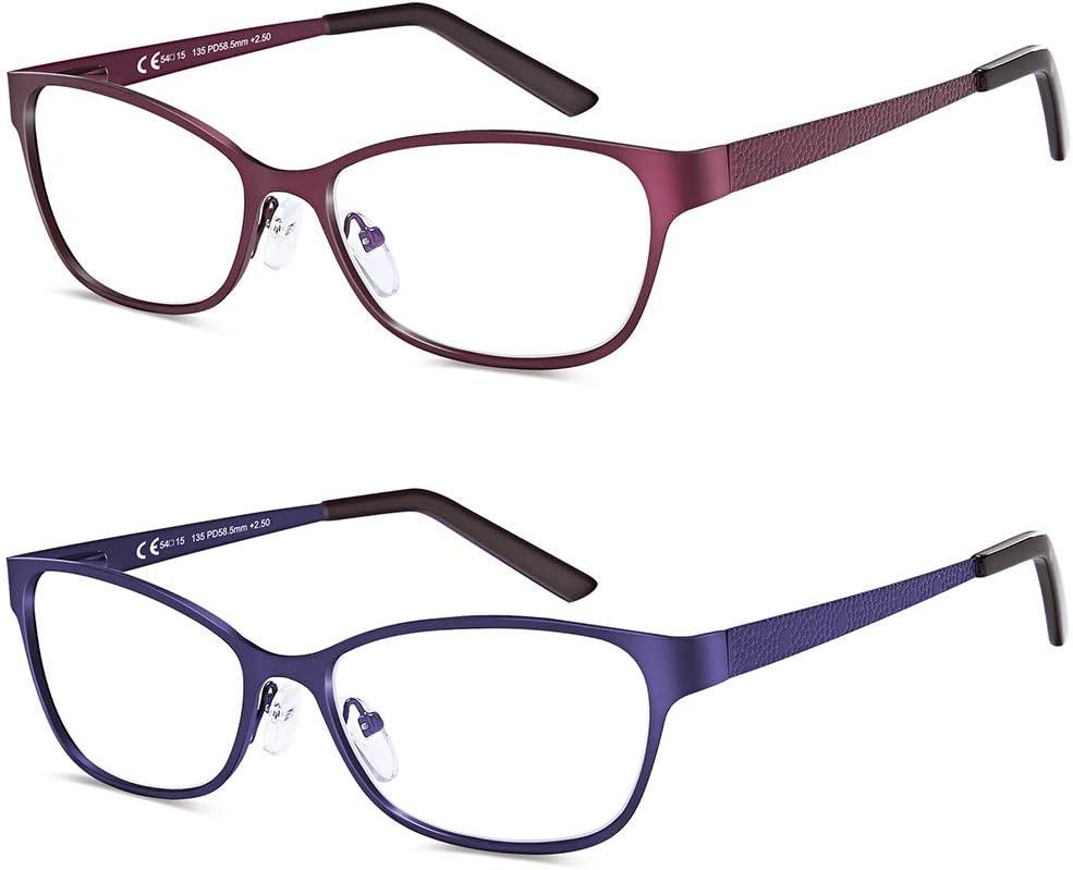 2 paires de lunettes de lecture bloquant la lumi/ère bleue 1.5 lunettes de lecture dordinateur cadre en m/étal avec charni/ères /à ressort pour femmes et hommes