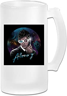 Printed 16oz Frosted Glass Beer Stein Mug Cup - Doctor Who David Tennant Allons Y Retro Wave - Graphic Mug