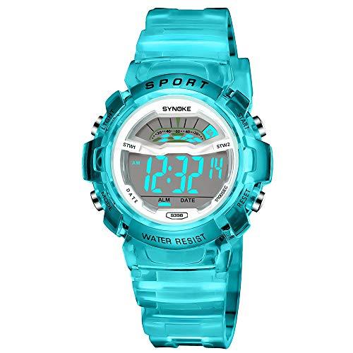 Bestow Reloj Deportivo LED Reloj de Fecha Reloj Digital Impermeable Luminoso Impermeable para ni?os Ni?o Estudiante Impermeable(Azul)