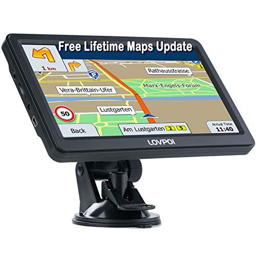 LOVPOI GPS-Navigation für Auto, LKW, Wohnmobil, Postleitzahlen, Speedcam-Benachrichtigungen, Spurassistent