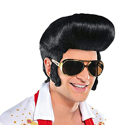 Rock singer Elvis Wig Cosplay Halloween party dance black wig male...
