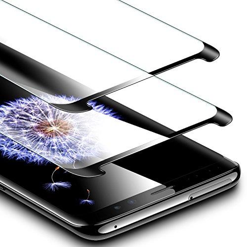 ESR Schutzfolie für Samsung Galaxy S9, 9H, 3-Mal verbesserte gehärtetes Schutzfolie Displayschutzfolie für Galaxy S9 2018 (5,8 Zoll),Schwarz (2 Stück)
