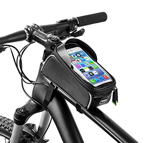 Bike Phone Bag Bike Front Frame Bag Waterproof Frame Bag Phone Mount Bag Phone Case Holder Cycling Top Tube Frame Bag, Cell Phone Touch ScreenLarge Capacity Cycling Pack Compatible with iPhone XS MAX