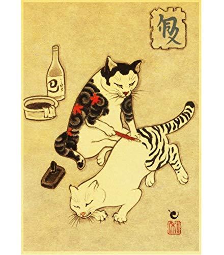 Dekoration Leinwand Malerei Wandkunst Bilder Drucke Japanischen Samurai Tattoo Katze Nordischen Stil Poster Für Wohnzimmer 40X60 cm Ohne Rahmen