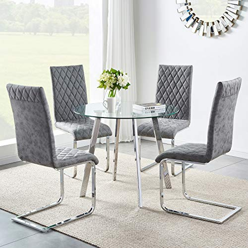 GIZZA Small Round Glass Dining Table and Chairs Set of 4 Modern Kitchen Corner Table and 4 Grey Distressed Faux Leather Chair Silver Chrome Cantilever Base,for Living Room Lounge Office Decoration