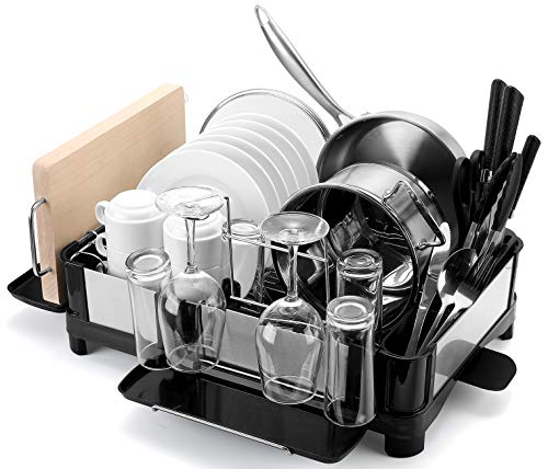 Drizom Dish Rack - Fingerprint-Proof 304 Stainless Steel Pot Dish Drying Rack for Kitchen Counter, Fully Customizable Cutlery Rack, Cups Holder and Cutting Board Rack - Dish Drainer for Large Capacity