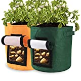 Pannow Potato Grow Bags,2-Pack 15 Gallon Potato Planter Bag, Double Layer Nonwoven Cloth Fabric Pots with Handles for Vegetables, Fruit, Carrot, Tomato, Onion
