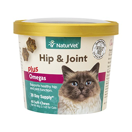 NaturVet Hip & Joint Plus Omegas for Cats, 60 ct Soft Chews, Made in USA