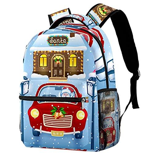 XiangHeFu Mochila pequeña para niñas niño al aire libre a pie bolsa de viaje mochila escolar Lámpara de luz de la vendimia de Santa Claus. Mochila estampada