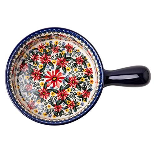 Cuenco de fideos instantáneos de una sola manija, cuenco de cerámica del hogar de la cocina, cuenco para el horno (Color : Blue, Size : 23.8 * 16.3 * 5cm)