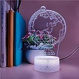 LBJZD luz de noche Reloj Luz De Noche Creativo Globo Terráqueo 3D Holograma 7 Colores Decoración De Dormitorio Led Led Usb Lámpara De Mesa Amigo Regalo De Cumpleaños Con Mando A Distancia