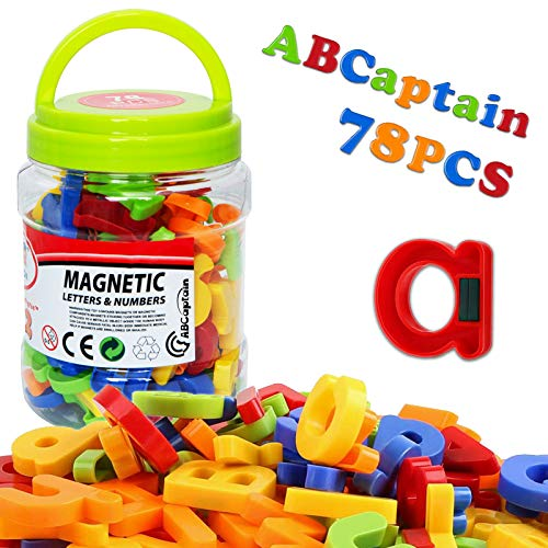 ABCaptain Magnetic Letters Numbers Alphabets ABC 123 Fridge Magnets Plastic Educational Toy Set Uppercase Lowercase Math Symbols for Kid Preschool Learning Spelling Counting (78 PCS - Standard Size)