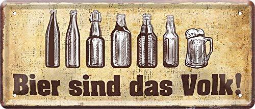 """Blechschilder Bier lustiger Spruch: """"Bier SIND DAS Volk!"""" Deko Schild für Bar Theke oder Pub Geschenkidee 28x12 cm"""