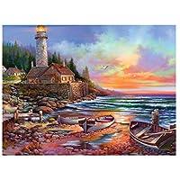 油絵数字キットによる絵画デジタル絵画油絵 数字キットによる絵画手塗りDIY絵デジタル油絵塗り絵 - ボートと灯台