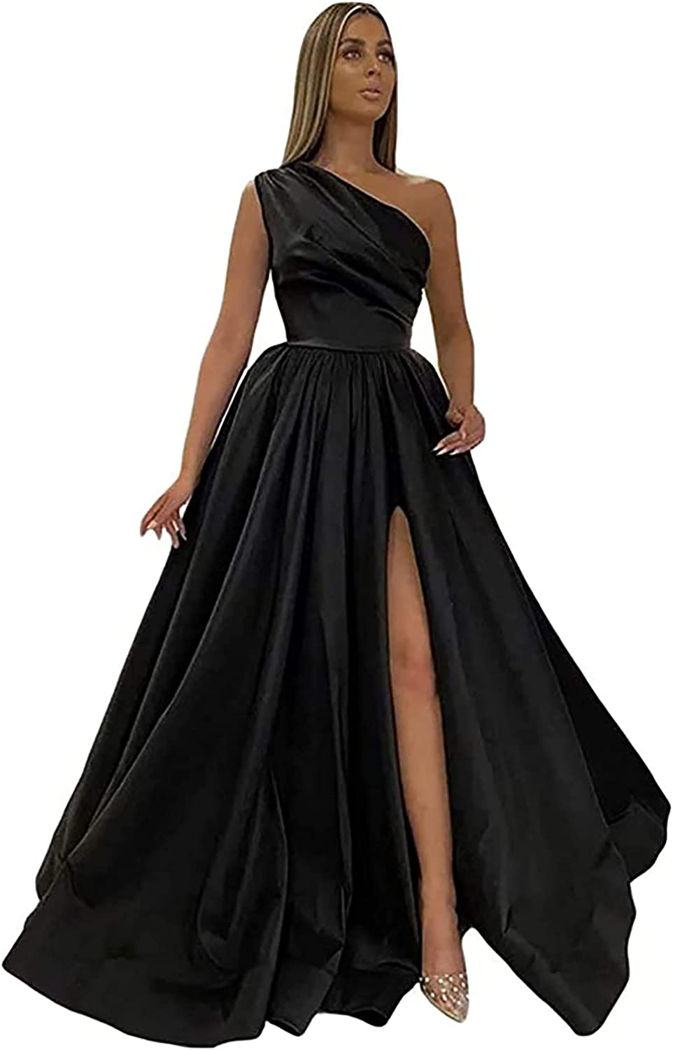 Women's One Shoulder Prom Dresses Formal Evening Party Dress Long Satin Split Ball Gowns with Pockets
