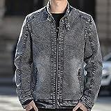 GFDFD Chaqueta para hombre primavera y otoño nuevo estilo coreano moda apuesto guapo collar de pie fino delgado lámpara lavada chaqueta de mezclilla (Size : Medium)