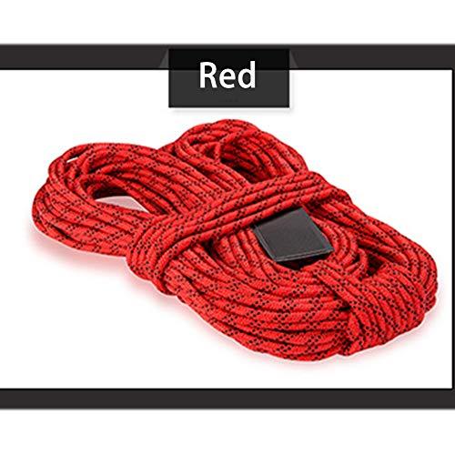 GPAN Nylon Kletterseil Sicherheitsseil mit Schraubglied Verschiedene Längen Durchmesser 8mm,Red,50Meters