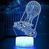 Lámpara LED RGB 3D de estado de ánimo, Battle Bus Game, 7 colores, luz de globo de aire caliente, lámpara nocturna para regalo de cumpleaños o decoración (Crack Battle Bus)