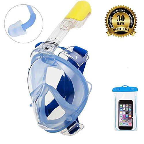 Masque de plongée ORSEN Easybreath - Avec tuba et bouchons d\'oreilles - Champ de vision à 180 degrés - Pour adulte, enfant - Avec monture pour appareil photo Gopro - Matière FDA, L/XL Blau