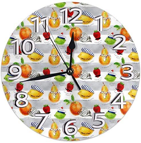 hon-ey WE Orologio da Parete con Frutta Francese Silenzioso Senza ticchettio - Quadrante a Colori Tondo a Batteria al Quarzo da 9,5 Pollici di qualità