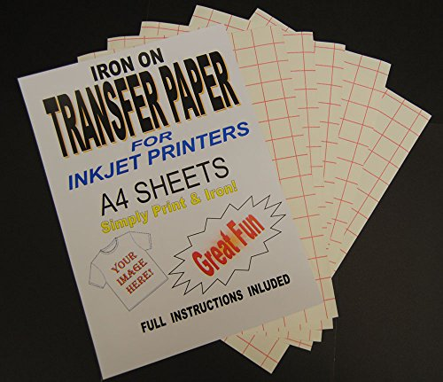 Inkjet Printable Iron On T Shirt & Fabric Transfer Paper For Light Fabrics 10 A4 Sheets