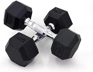 Dumbbell Exercise & Fitness Dumbbells 1pcs Hexagonal Rubberized Dumbbell Gym Dedicated Fixed Dumbbell Men's Fitness Training Arm Muscle 5kg Dumbbell Dumbbells