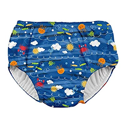 i play. by green sprouts Boys' Toddler Reusable Swim Diaper, Royal Blue Sea Friends, 3T