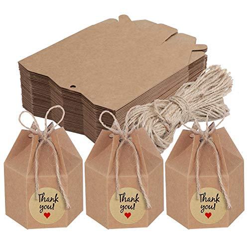 TsunNee 50 cajas de papel para manualidades, cajas de dulces hexagonales, cajas de regalo para bodas, cajas de regalo para fiestas, cajas de regalo creativas de papel