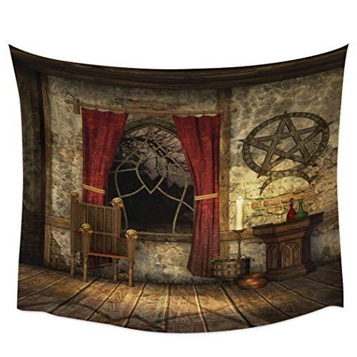 Bdhbeq Casa Estilo Retro Silla Vela Ventana Tapiz de Pared Cubierta Toalla de Playa Picnic Yoga Mat Home decor130x150cm