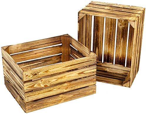 Kistenbaron Holzkiste im Vintage Look - Obstkiste Weinkiste Dekoration - Geflammt - 50 x 40 x 30 2er Set Ohne Ablage