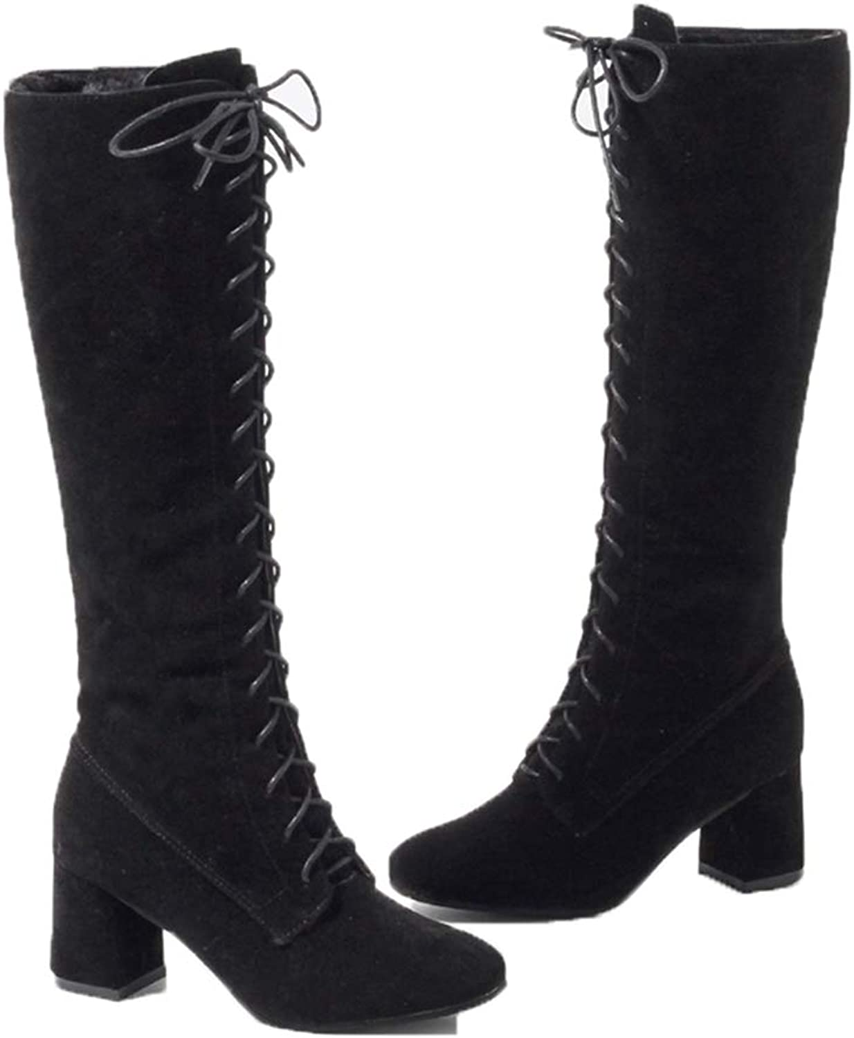 Hoxekle Women Knee High Boots Slip On Lace Up High Chunky Heel Square Toe Winter Ladies Sexy Motorcycle Footware
