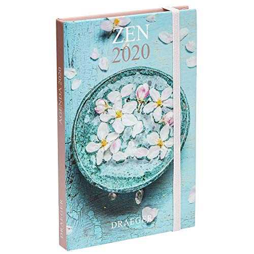 Draeger - Pratik Zen 2020 Pocket Agenda - Mini 2020 Agenda illustrata - Cover rigida - Chiusura elastica - Segnalibro in raso - Formato Agenda Zen 9,5 x 14,5 cm.