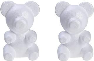 Amosfun 2pcs Polystyrene Styrofoam Modelling Foam Bear Shapes Mould for Crafts DIY Rose Bear Flower Arrangements White 13cmx20cm
