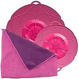Kochblume Spar-Set für Töpfe von 14 bis 24 cm mit Microfasertuch als Set in der pinken Box | Silikon Überkochschutz für Töpfe und Pfannen (pink)