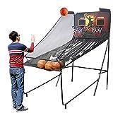Canasta de baloncesto Adultos Juego De Arcade De Baloncesto Electrónico para 2 Jugadores, 8 Opciones De Juego Y 5 Bolas - Sistema De Aro De Baloncesto Interior De Doble Tiro con Marcador Y Efectos De