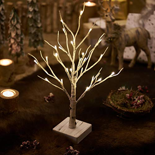 Hairui Lighted Little Birch Tree with Timer 24LED 18IN Battery Operated Pre-lit Twig Tree Gift for Christmas Holiday Decoration Tabletop Centerpiece