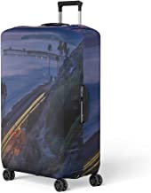 Pinbeam Luggage Cover Blue Ocean West Coast Dusk Orange Headlights Night Travel Suitcase Cover Protector Baggage Case Fits 22-24 inches