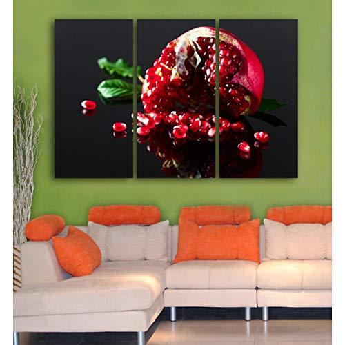KDSFHLL 3 Dekorative Gemälde Gebrochen Granatapfel 3 Teile Wand Kunst Gedruckt Obst Leinwand Malerei Für Wohnzimmer Moderne Wandplakat
