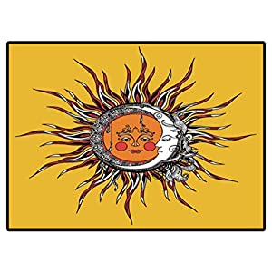 Area Rug Bedroom Tribal Style Sun and Moon with Antropomorphic Face Hand Drawn Vector Illustration Rug Carpets for Living Room Decor 6 X 9 Ft