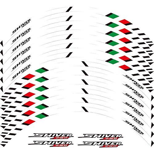12 x Edge de borde grueso Etiqueta exterior de la rotura de la raya de las calcomanías de la rueda Ajuste Aprilia Shiver 750 17 '' (Color : White)
