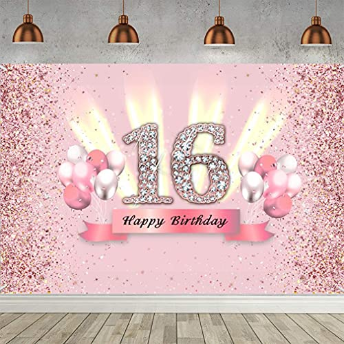 16th Birthday Decoration Party Decor for Woman Fabric Sign Poster 16th Anniversary Background Banner 16th Birthday Party Supplies Birthday Decoration Glitter Pink