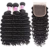 UNice Hair Icenu Series Peruvian Deep Wave Virgin Hair 4x4 Lace Closure with Bundles Real Human Hair Weft Extensions Natural Color 95-100g/piece (18 20 22+16Closure)