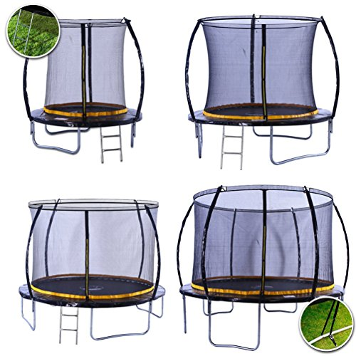 kanga 10ft Premium Trampoline with Safety Enclosure, Net, Ladder and Anchor Kit (10ft)