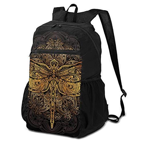 Mochila de viaje de senderismo elegante, con patrón perfecto sin costuras, con diseño de libélula dorada y estilizada en mandala, mochila de viaje, mochila plegable para mujer, ligera, impermeable para hombres y mujeres