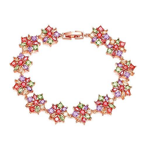 QKL CláSico Colorido Oro Rosa Zircon SeñOra Pulsera De Moda Flor Super Flash Completo Diamante Pulsera.
